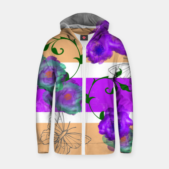 Thumbnail image of Vintage Purple Teal Floral Geo Mix Cotton zip up hoodie, Live Heroes