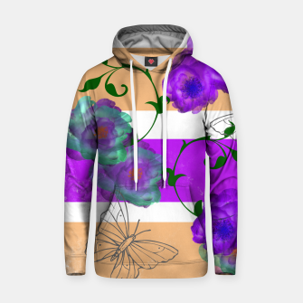 Thumbnail image of Vintage Purple Teal Floral Geo Mix Cotton hoodie, Live Heroes