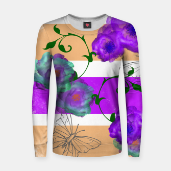 Thumbnail image of Vintage Purple Teal Floral Geo Mix Woman cotton sweater, Live Heroes