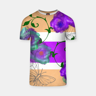 Thumbnail image of Vintage Purple Teal Floral Geo Mix T-shirt, Live Heroes