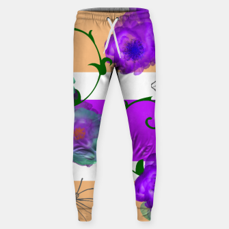 Thumbnail image of Vintage Purple Teal Floral Geo Mix Cotton sweatpants, Live Heroes