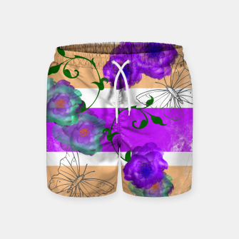 Thumbnail image of Vintage Purple Teal Floral Geo Mix Swim Shorts, Live Heroes