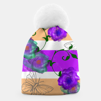 Thumbnail image of Vintage Purple Teal Floral Geo Mix Beanie, Live Heroes