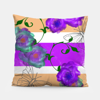 Thumbnail image of Vintage Purple Teal Floral Geo Mix Pillow, Live Heroes