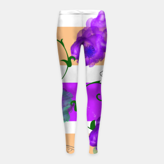 Thumbnail image of Vintage Purple Teal Floral Geo Mix Girl's leggings, Live Heroes