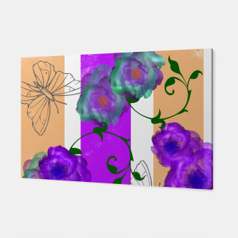 Thumbnail image of Vintage Purple Teal Floral Geo Mix Canvas, Live Heroes