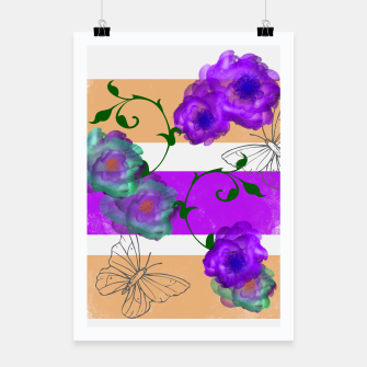 Thumbnail image of Vintage Purple Teal Floral Geo Mix Poster, Live Heroes