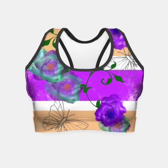 Thumbnail image of Vintage Purple Teal Floral Geo Mix Crop Top, Live Heroes