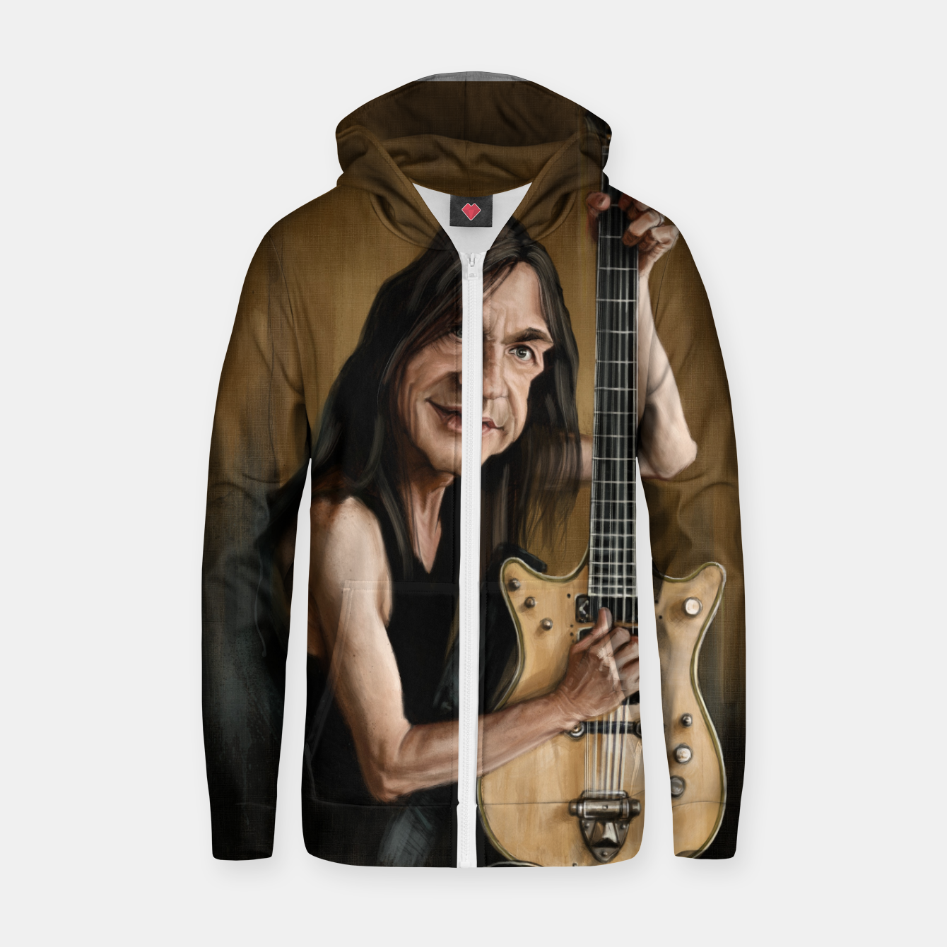 Image of Malcolm Young I Cotton zip up hoodie - Live Heroes