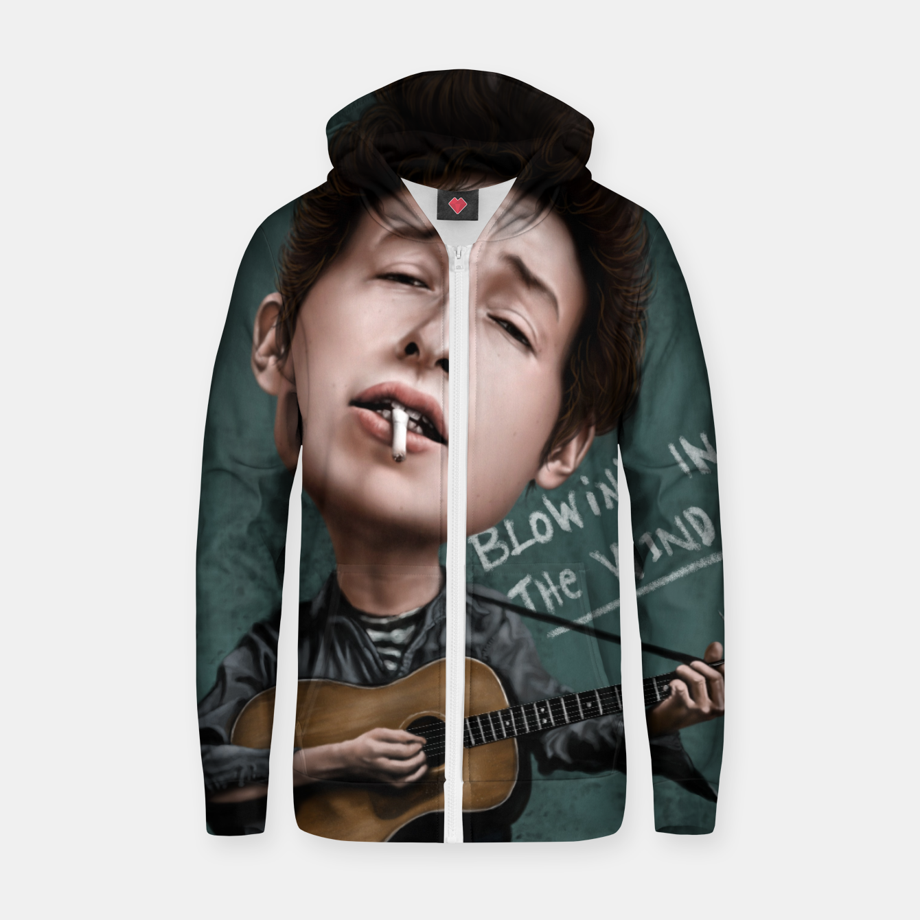 Image of Young Bob Dylan Cotton zip up hoodie - Live Heroes