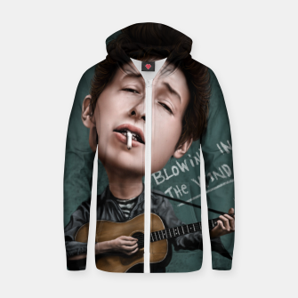Thumbnail image of Young Bob Dylan Cotton zip up hoodie, Live Heroes