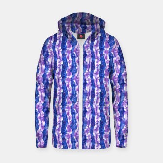 Thumbnail image of Seaweed Stripe (Blue, Violet & White) Cotton zip up hoodie, Live Heroes