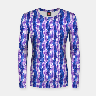 Thumbnail image of Seaweed Stripe (Blue, Violet & White) Woman cotton sweater, Live Heroes