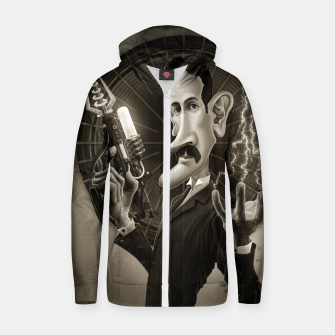 Thumbnail image of Nikola Tesla Cotton zip up hoodie, Live Heroes