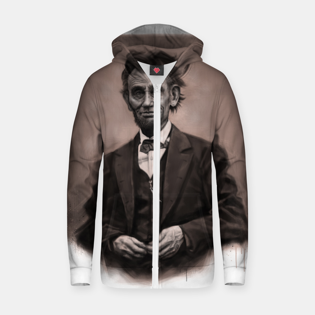 Image of Abraham Lincoln Cotton zip up hoodie - Live Heroes
