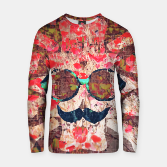 Thumbnail image of vintage old skull portrait with red poppy flower field abstract background Cotton sweater, Live Heroes