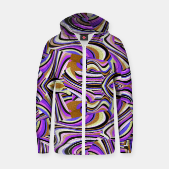 Groovy Retro Renewal - Purple Waves Cotton zip up hoodie thumbnail image