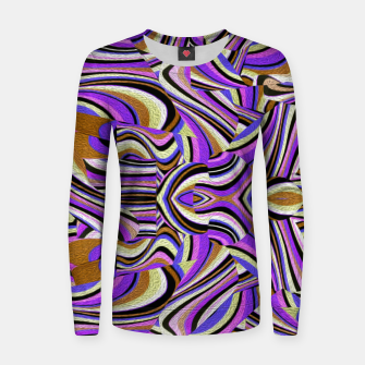 Groovy Retro Renewal - Purple Waves Woman cotton sweater thumbnail image