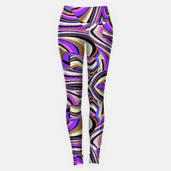 Groovy Retro Renewal - Purple Waves Leggings thumbnail image