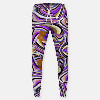 Groovy Retro Renewal - Purple Waves Cotton sweatpants thumbnail image