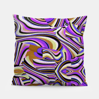 Groovy Retro Renewal - Purple Waves Pillow thumbnail image