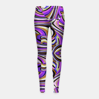 Groovy Retro Renewal - Purple Waves Girl's leggings thumbnail image