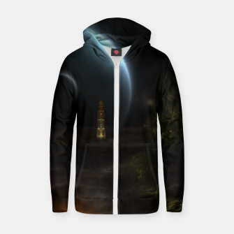 Thumbnail image of Unknown Frontiers Sci-Fi Fractal Space Fantasy Cotton zip up hoodie, Live Heroes