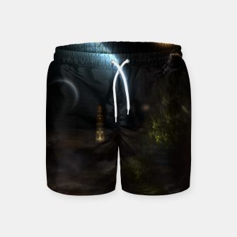 Thumbnail image of Unknown Frontiers Sci-Fi Fractal Space Fantasy Swim Shorts, Live Heroes