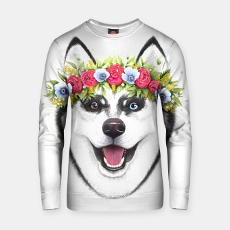Thumbnail image of Husky with flowers Cotton sweater, Live Heroes
