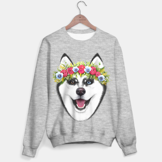 Miniature de image de Husky with flowers Sweater regular, Live Heroes