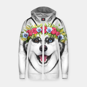 Thumbnail image of Husky with flowers Cotton zip up hoodie, Live Heroes
