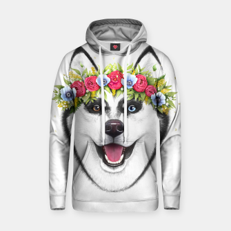 Thumbnail image of Husky with flowers Cotton hoodie, Live Heroes