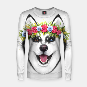 Thumbnail image of Husky with flowers Woman cotton sweater, Live Heroes