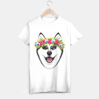 Thumbnail image of Husky with flowers T-shirt regular, Live Heroes