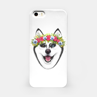 Miniaturka Husky with flowers iPhone Case, Live Heroes