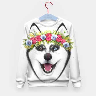 Thumbnail image of Husky with flowers Kid's sweater, Live Heroes