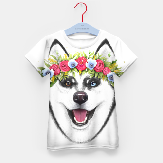Miniaturka Husky with flowers Kid's t-shirt, Live Heroes