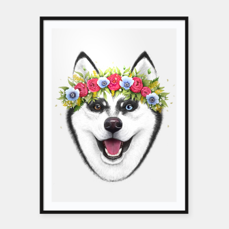 Thumbnail image of Husky with flowers Framed poster, Live Heroes