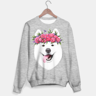 Miniaturka Samoyed with flowers Sweater regular, Live Heroes