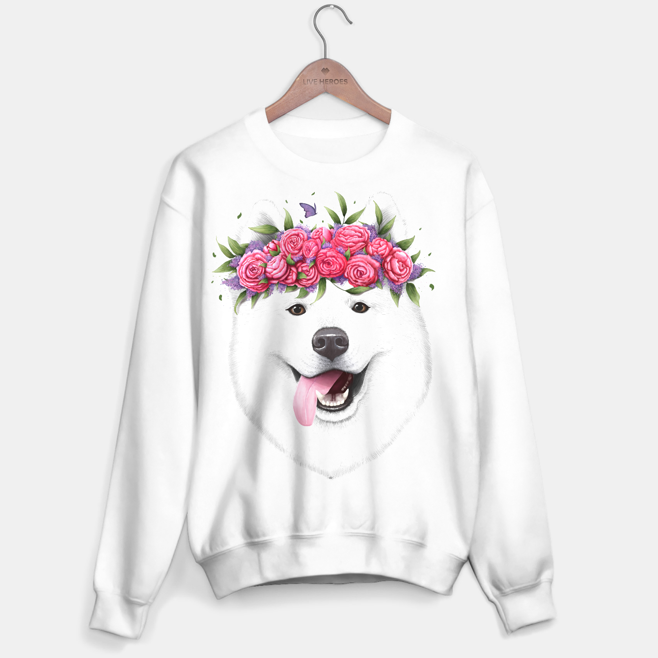 Image de Samoyed with flowers Sweater regular - Live Heroes