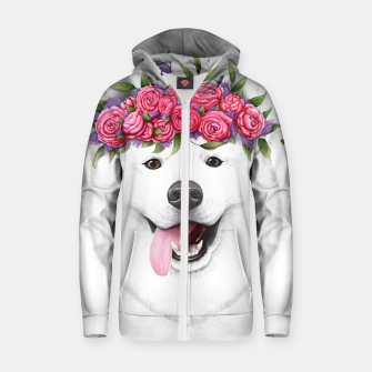 Thumbnail image of Samoyed with flowers Cotton zip up hoodie, Live Heroes