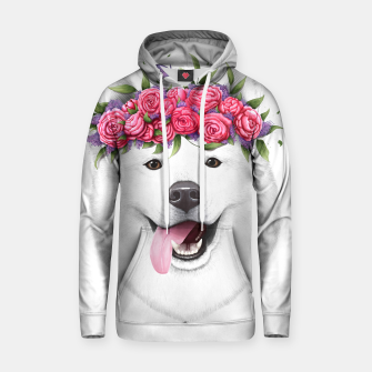 Thumbnail image of Samoyed with flowers Cotton hoodie, Live Heroes