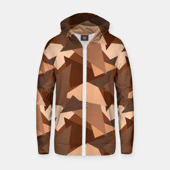 Thumbnail image of Brown Chocolate Caramel  Triangles (Camouflage) Cotton zip up hoodie, Live Heroes