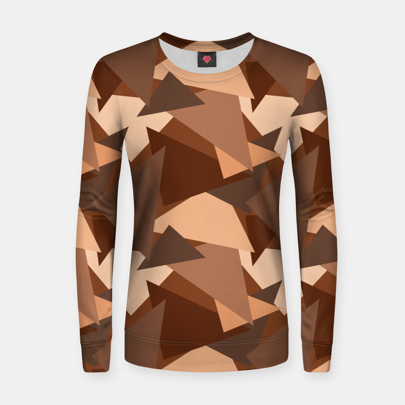 Image of Brown Chocolate Caramel  Triangles (Camouflage) Woman cotton sweater - Live Heroes