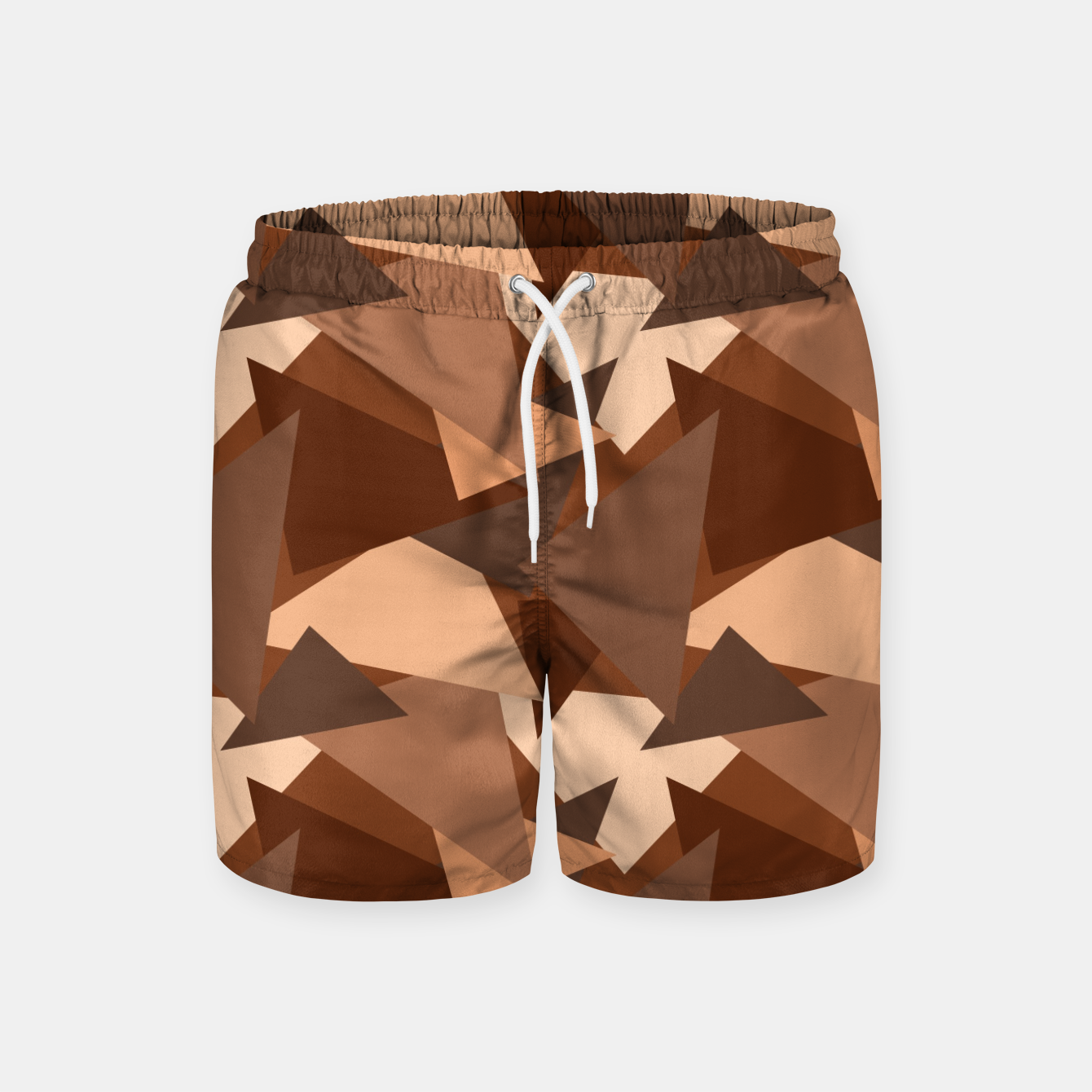Image of Brown Chocolate Caramel  Triangles (Camouflage) Swim Shorts - Live Heroes