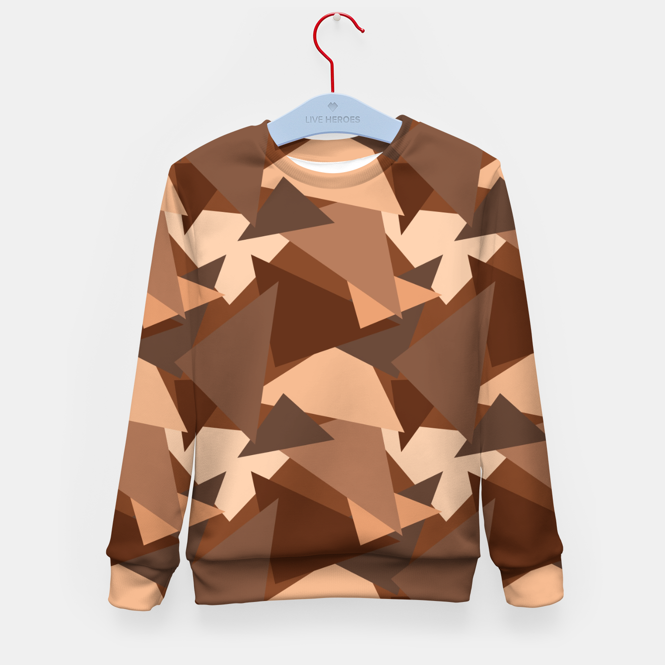 Image of Brown Chocolate Caramel  Triangles (Camouflage) Kid's sweater - Live Heroes
