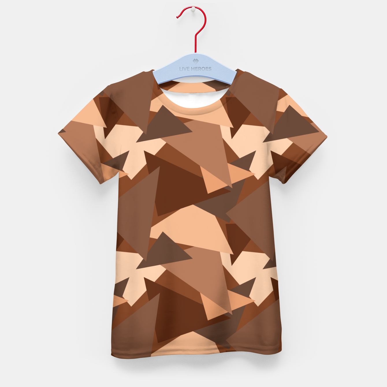 Image of Brown Chocolate Caramel  Triangles (Camouflage) Kid's t-shirt - Live Heroes