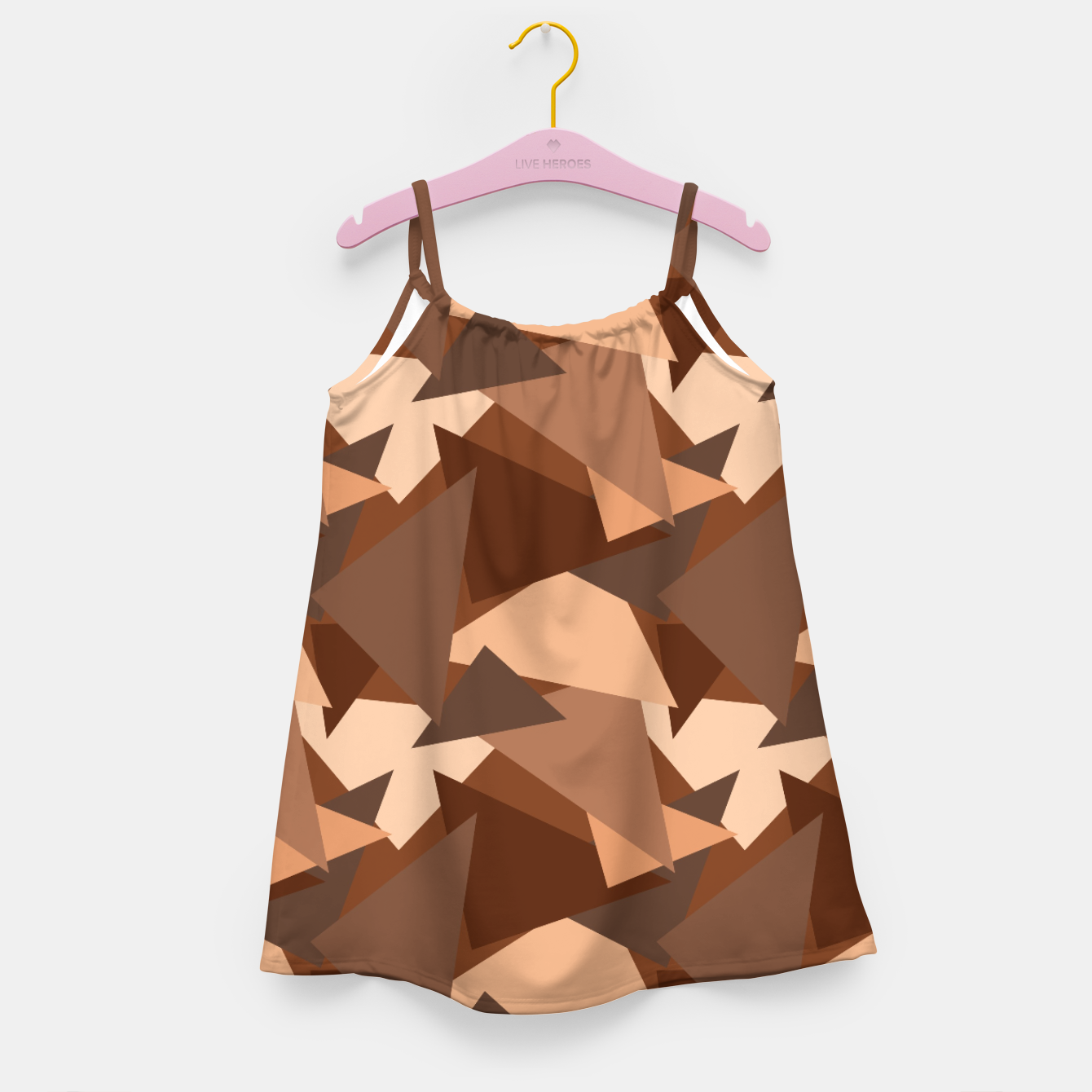 Image of Brown Chocolate Caramel  Triangles (Camouflage) Girl's dress - Live Heroes