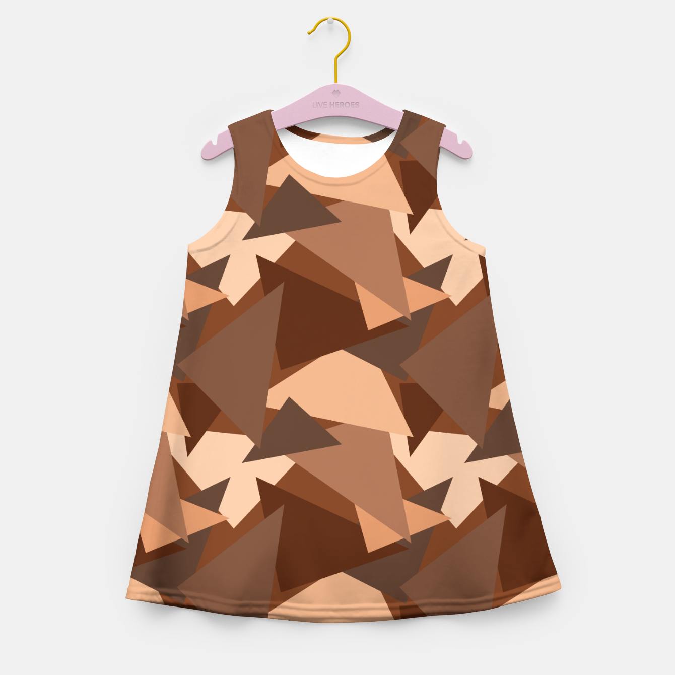 Image of Brown Chocolate Caramel  Triangles (Camouflage) Girl's summer dress - Live Heroes