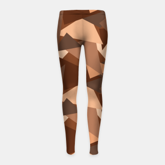 Miniature de image de Brown Chocolate Caramel  Triangles (Camouflage) Girl's leggings, Live Heroes